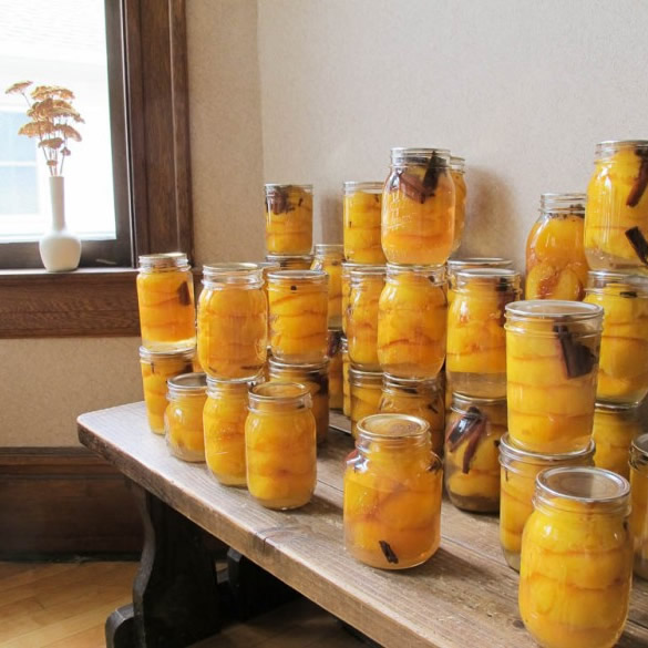 Canning spiced peaches